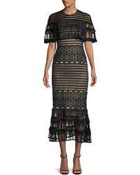 Lela Rose - Round-neck Grid-guipure Lace Fringed Midi Dress - Lyst