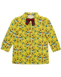 Gucci - Love Birds-print Long-sleeve Blouse - Lyst