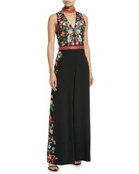 Alice + Olivia - Nilsa Floral Embroidered Wide-leg Jumpsuit - Lyst