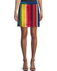 MILLY - Rainbow Stripe Velvet Modern Mini Skirt - Lyst
