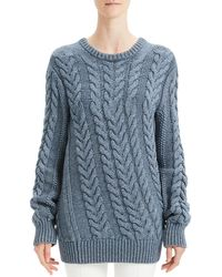 Theory - Twisted Cable-knit Wool-blend Sweater - Lyst
