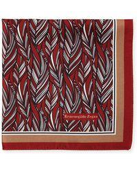 Ermenegildo Zegna - Tonal Leaves Silk Pocket Square - Lyst