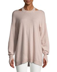 Halston - Cashmere Cutout Long-sleeve Sweater - Lyst