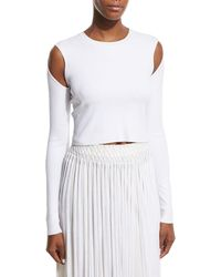 Opening Ceremony - Long-sleeve Jersey Cold-shoulder Crop Top - Lyst