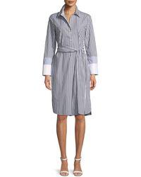 Lafayette 148 New York - Fabiola Saxony Stripe Poplin Shirtdress - Lyst