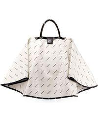 Balenciaga - Ville Logo-print Leather Satchel Bag W/cape - Lyst