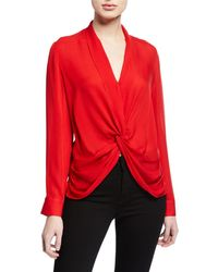 L'Agence - Mariposa Silk Crossover Blouse - Lyst