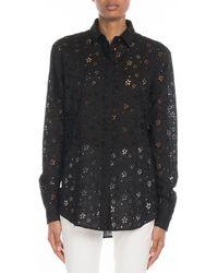 cbc94d958cb3bd Lyst - Saint Laurent Crystal-embellished Silk Georgette Shirt in Black
