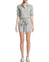MILLY - Charlie Striped Linen-blend Romper - Lyst