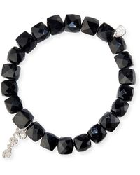 Sydney Evan | Black Spinel Beaded Bracelet With 14k White Gold/diamond Love Charm | Lyst