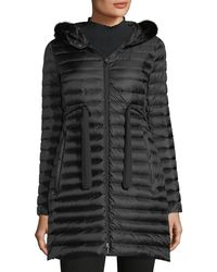 Moncler - Barbel Quilted Puffer Coat With Fur Trim - Lyst