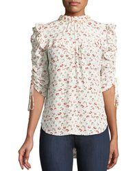 Veronica Beard - Howell Floral-print Silk Ruffle Top - Lyst