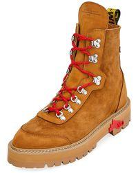Off-White c/o Virgil Abloh - Men's Suede Logo-web Hiking Boots - Lyst
