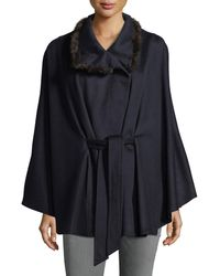 Sofia Cashmere - Cashmere Cape W/ Cross Cut Mink Fur Collar - Lyst