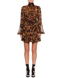 Dolce & Gabbana - Mock-neck Long-sleeve Giraffe-print Chiffon Dress - Lyst