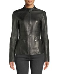 Elie Tahari - Deepa Zip-front Leather Jacket - Lyst
