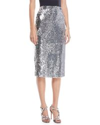 MILLY - Jami Sequined Pencil Skirt - Lyst