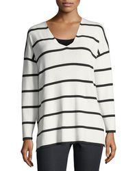 Lafayette 148 New York - Striped V-neck Matte Crepe Sweater - Lyst
