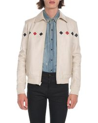 Saint Laurent - Men's Teddy Diamond-detail Leather Jacket - Lyst