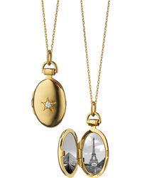 Monica Rich Kosann - 18k Gold Petite Oval Locket Necklace With Diamond Star - Lyst