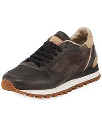Brunello Cucinelli - Suede/leather Monili-toe Trainer Sneaker - Lyst