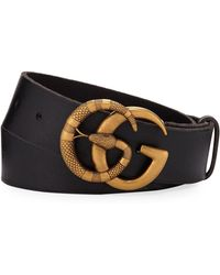 7cebefdb38b Lyst - Gucci Men s Leather Belt With Wolf Buckle in Black for Men
