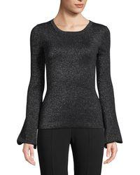 Michael Kors - Crewneck Peasant-sleeve Metallic-knit Sweater - Lyst