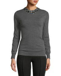Jason Wu - Crewneck Long-sleeve Heathered Wool Sweater - Lyst