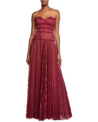 J. Mendel - Sweetheart Strapless Pleated Gown - Lyst