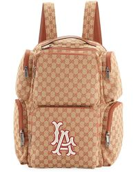 f80b74b935 Gucci - Men s Large Original GG Backpack With La Angels Mlb Applique - Lyst