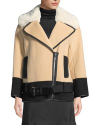 Club Monaco - Rismah Zip-front Wool Coat With Faux-fur Collar - Lyst