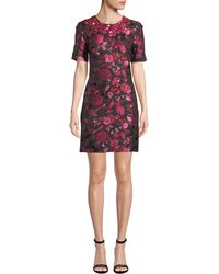 Zac Posen - 1/2-sleeve Floral-embroidered Jeweled-neck Dress - Lyst