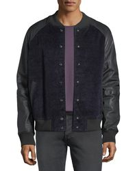 Hudson Jeans - Men's Leather-sleeve Corduroy Varsity Jacket - Lyst