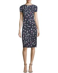 Carolina Herrera - High-neck Cap-sleeve Sheath Printed Dress - Lyst