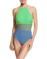 Diane von Furstenberg | Striped Panel Halter-neck One-piece Swimsuit | Lyst