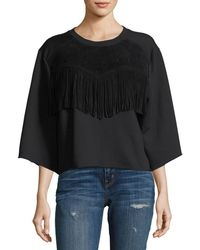 4443008cf97f9 Current Elliott - The Suede Fray Popover Wide-sleeve Cotton Top - Lyst