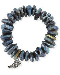 Sydney Evan - Irregular Labradorite Beaded Bracelet With Diamond Horn Charm - Lyst