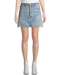 RE/DONE - Vintage High-rise Frayed Denim Mini Skirt - Lyst