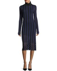 Diane von Furstenberg - Turtleneck Long-sleeve Knit Intarsia Midi Dress - Lyst