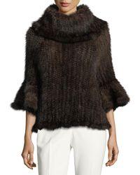 Adrienne Landau - Knit Fur Bell-sleeve Poncho - Lyst