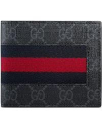 Gucci - Gg Supreme Web Bi-fold Wallet - Lyst