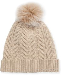 Sofia Cashmere - Staghorn Cable Knit Hat W/ Fur Pompom - Lyst