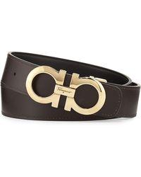 Ferragamo - Men's Double-gancini Reversible Leather Belt - Lyst