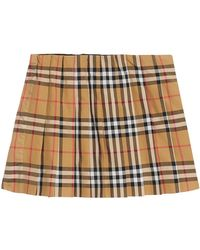 Burberry - Pearl Check Pleated Skirt - Lyst