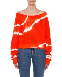 MSGM - Tie-dye Off-the-shoulder Long-sleeve Jumper - Lyst