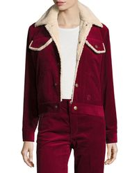 Marc Jacobs - Cropped Corduroy Jacket With Faux-fur Lining - Lyst