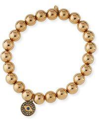 Sydney Evan - 8mm Golden Beaded Bracelet With Diamond Eye Medallion Charm - Lyst