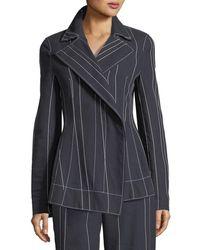 Cedric Charlier - Stripe Asymmetric Blazer Jacket - Lyst