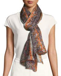 Ferragamo - Elettra Snake-pattern Stole In Arancione - Lyst