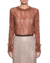 N°21 - Crewneck Long-sleeve Open-knit Sweater - Lyst